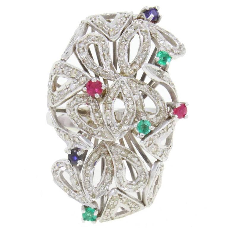Ruby Emerald Diamond Sapphire Gold Ring