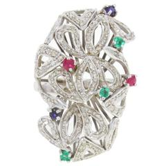 Ruby Emerald Diamond Sapphire Gold Ring
