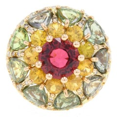 Tourmaline Sapphire Diamond Rose Gold Ring