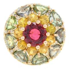 Tourmaline Sapphire Diamond Jelly Gold Ring