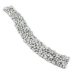 Fancy Shape Diamond Platinum Mesh Bracelet