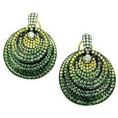 Big Circle Earrings with Green Sapphire, Yellow Sapphire and Diamond