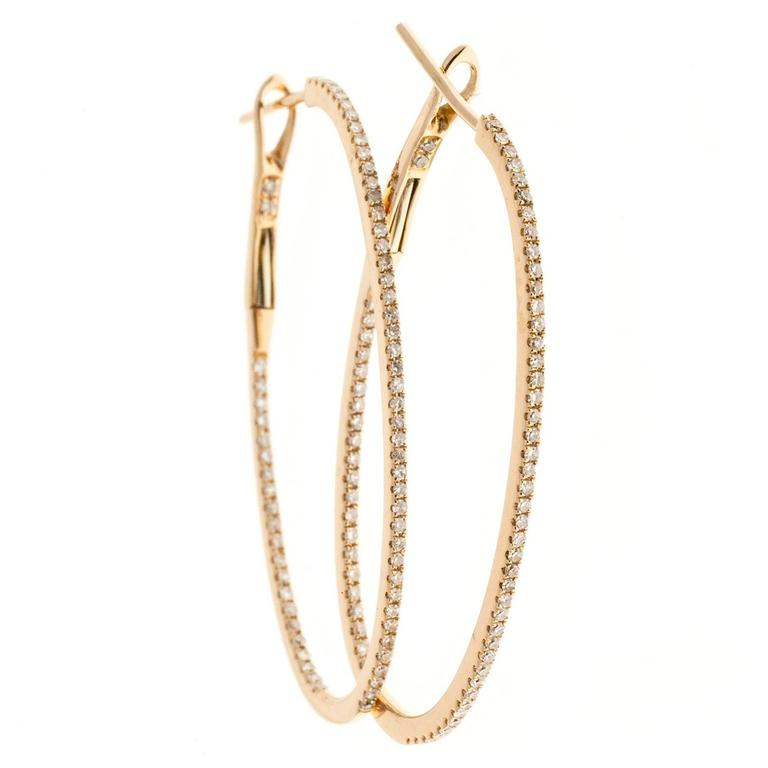 Diamond Oval Hoop Rose Gold Earrings