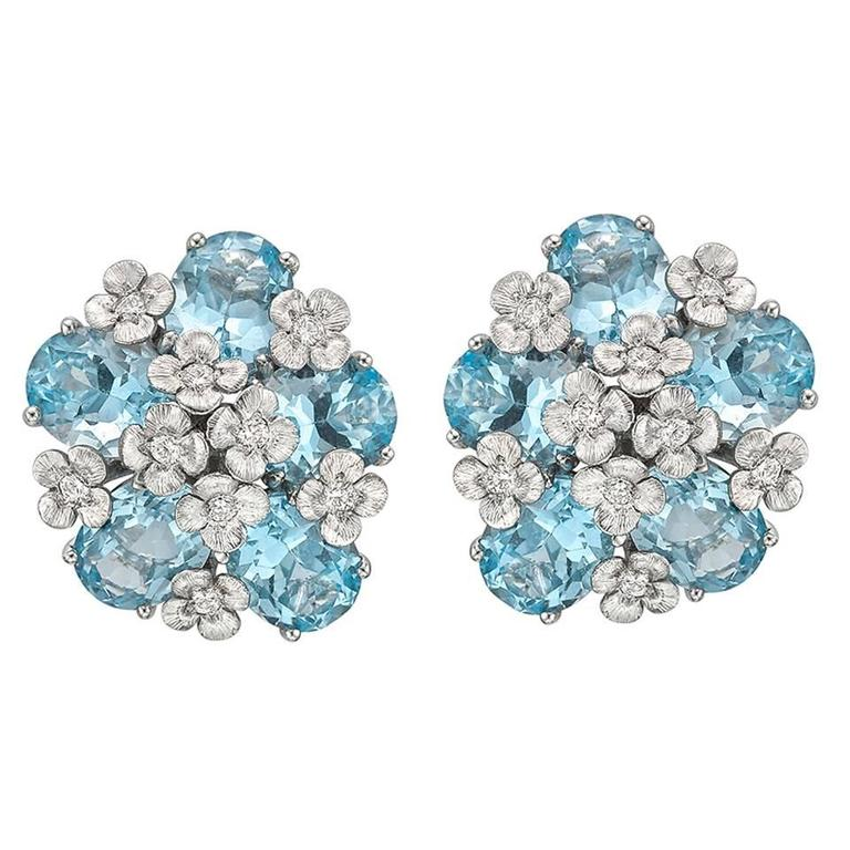 """Bielka White Gold and Blue Topaz """"Matisse"""" Earclips"""
