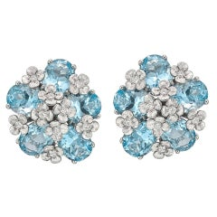 "Bielka ​White Gold and Blue Topaz ""Matisse"" Earclips"