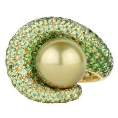 Rodney Rayner South Sea Pearl Tsavorite Garnet Gold Ring