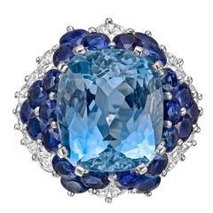 Aquamarine, Sapphire and Diamond Cocktail Ring