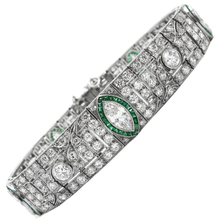 Art Deco Platinum, Diamond and Emerald Bracelet For Sale
