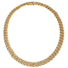 Italian Mid-20th Century Diamond and Gold Curb Link Necklace