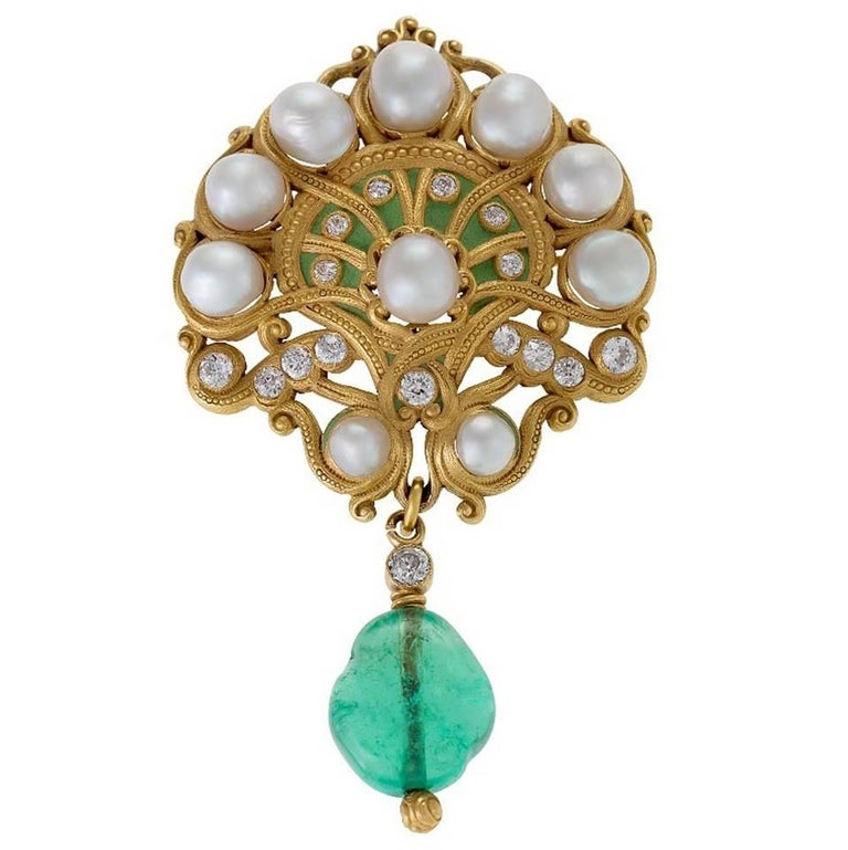Marcus & Co. Art Nouveau Pearl, Diamond and Emerald Brooch For Sale