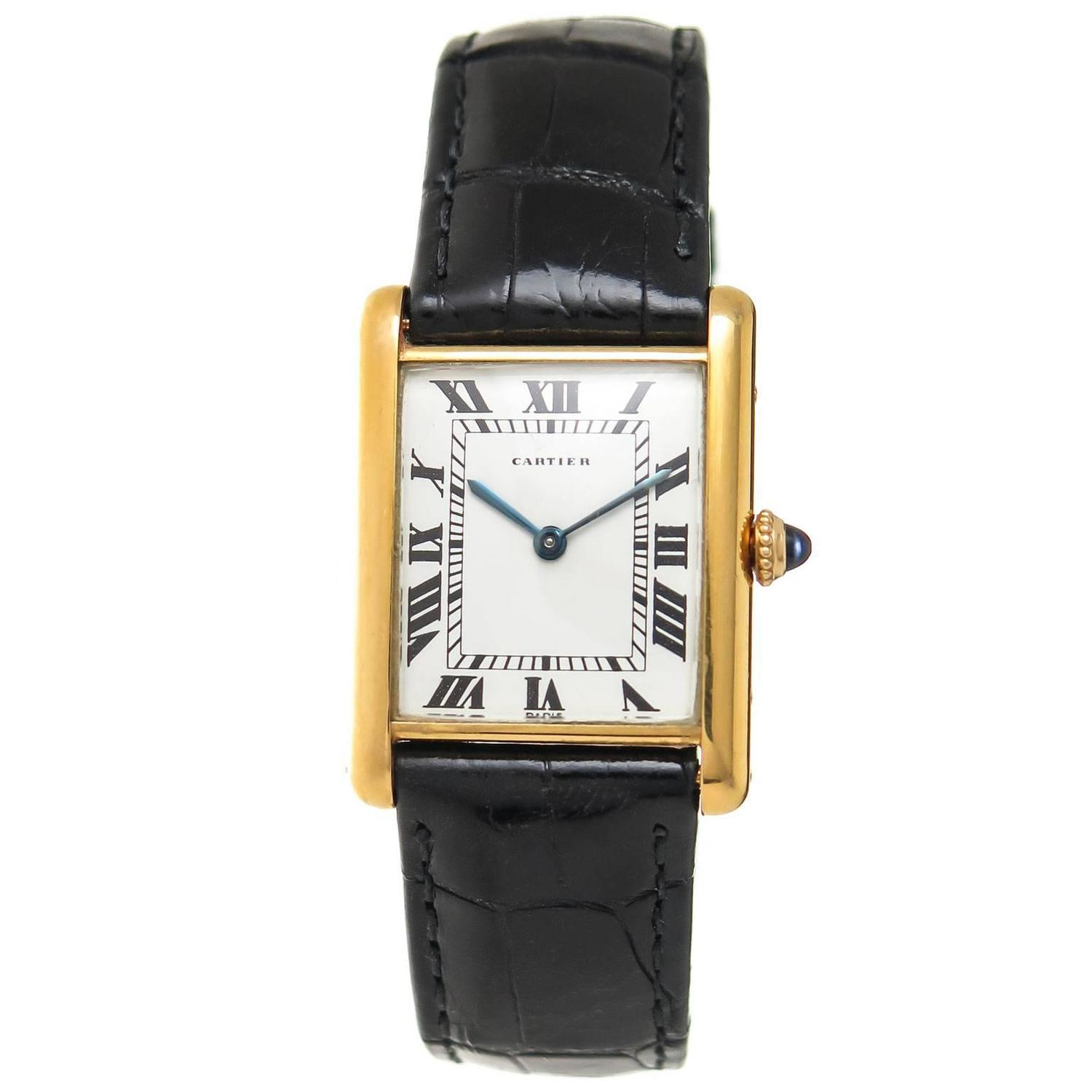 cartier yellow gold classic tank wrist at 1stdibs