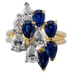 Oscar Heyman Sapphire and Diamond Cocktail Ring