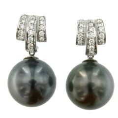 Gold Diamond Tahitian Pearl Earrings