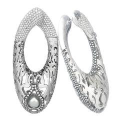 Missbach Ovaloni Diamond Pearl Gold Hoop Earrings