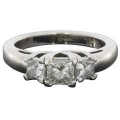 White Gold Princess Diamond Three-Stone Trellis Engagement Ring
