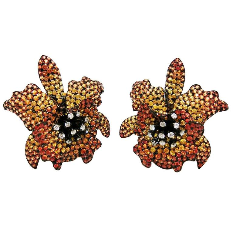 18K Yellow gold Yellow Orange Sapphire Diamond Gold Orchid Stud Earrings For Sale
