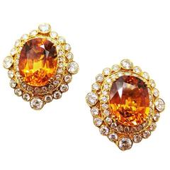 7.69 and 7.59 Carat Cushion Cut Yellow Sapphire Diamond Gold Cluster Earrings