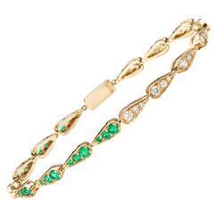 Sabine Getty 18 Karat Gold Harlequin Tennis Bracelet with Diamond and Emerald