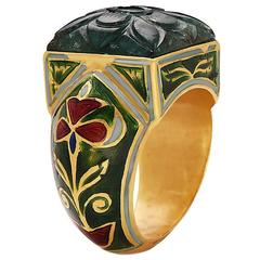 Carved Emerald and Enamel Ring
