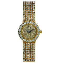 Piaget Ladies Yellow Gold Pave Diamond Watch In New Condition