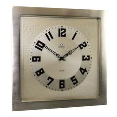 Omega Art Deco Desk Clock with Breguet Style Engine Turned Dial, 1930s