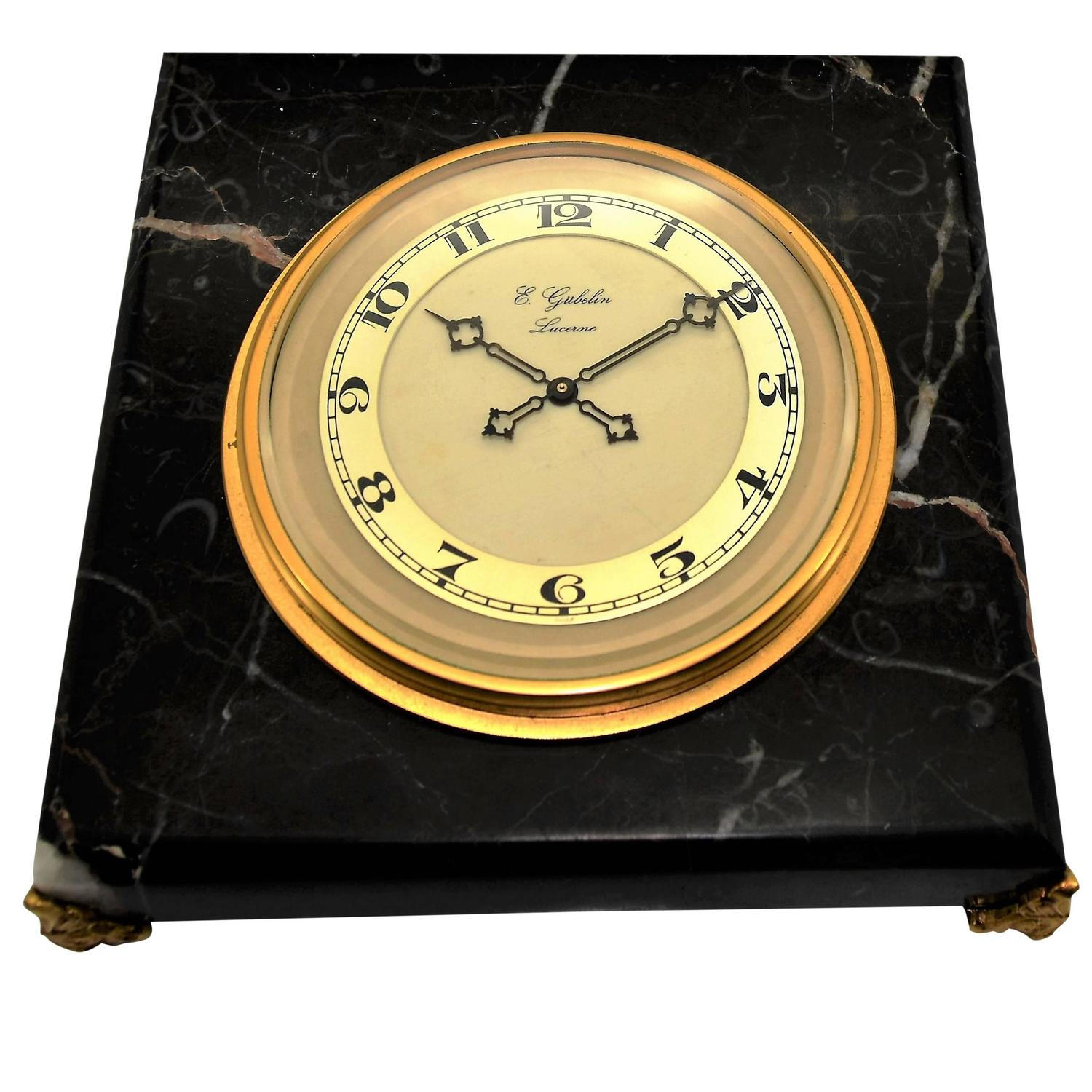 1930s E. Gubelin Watch Company Art Deco Stone Manually Wound Table ...
