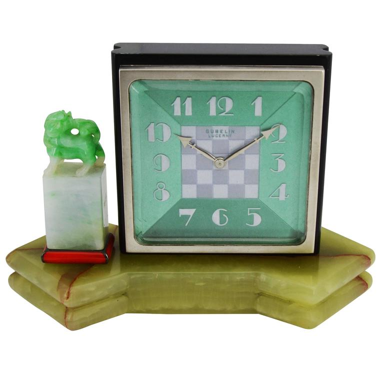 1930s E. Gubelin Art Deco Desk Clock in the Asian Chinese Style For Sale