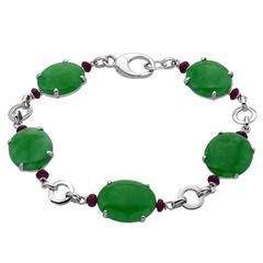 Jade & Ruby Gold Link Bracelet