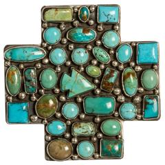 Large American Indian Sterling Silver and Turquoise Belt Buckle by Rocki Gorman