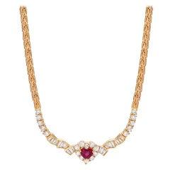 Ruby Heart Diamond Gold Necklace