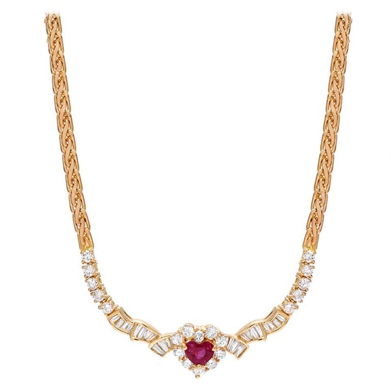Ruby Heart Diamond Gold Necklace For Sale