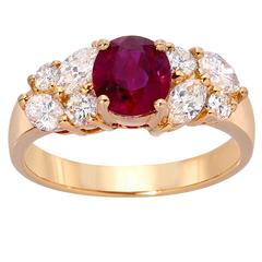 Ruby Diamond Cocktail Gold Ring