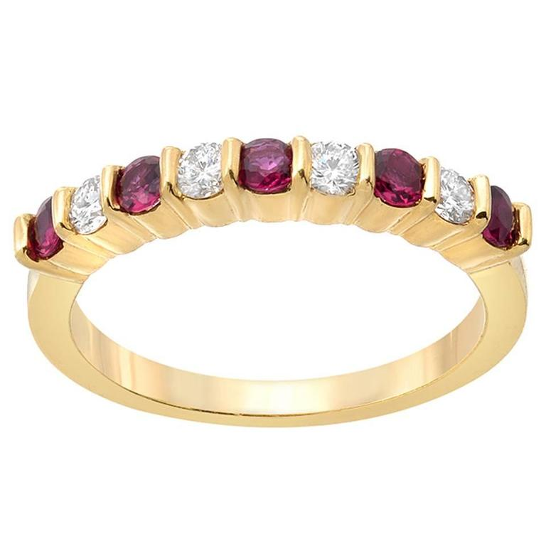 Ruby Diamond Gold Band Ring  For Sale