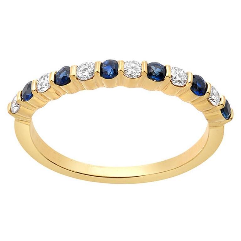 Gemlok Sapphire Diamond Gold Band Ring