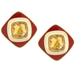 Leo De Vroomen Citrine and Enamel Earrings