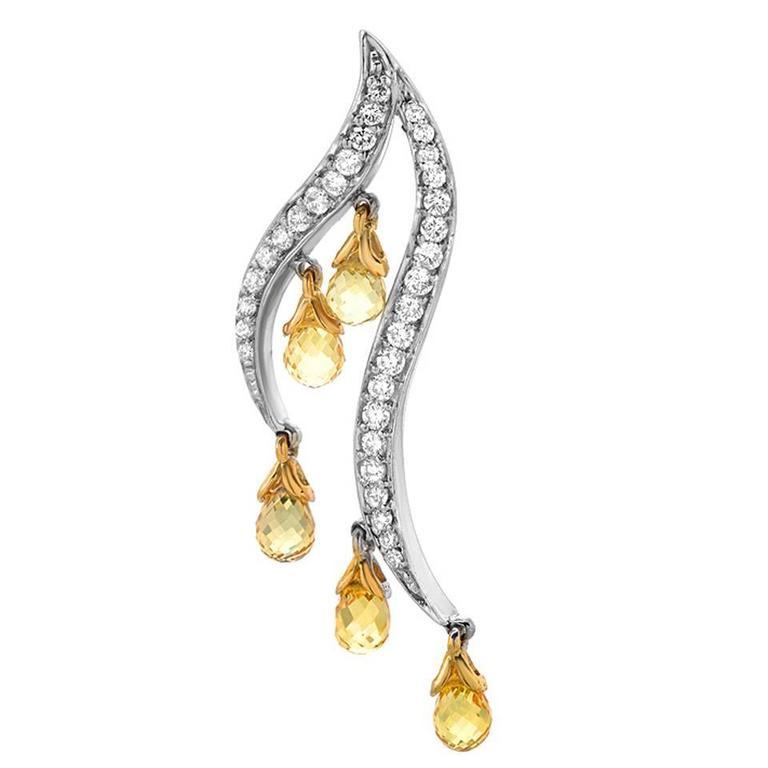 Yellow Sapphire & White Diamond Dangle Earrings in Gold 1