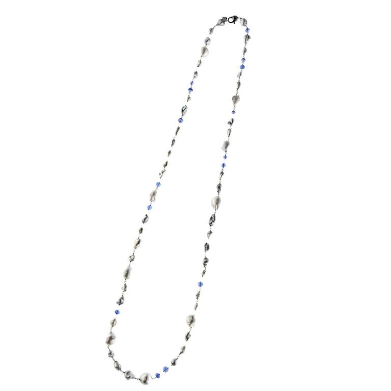 Jona Grey Keshi South Sea and Tanzanite White Gold Long Necklace For Sale