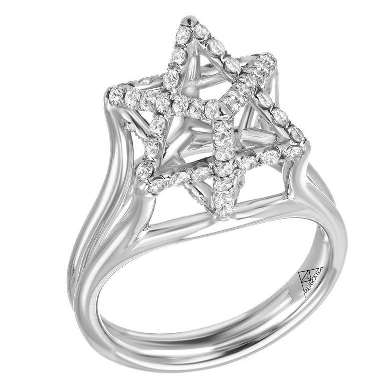 Merkaba Three Dimensional Star Diamond Platinum Geometric Ring For Sale