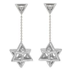 Merkaba Star Tetrahedron Platinum Drop Earrings