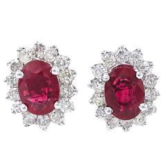 Fine Ruby Diamond Earrings