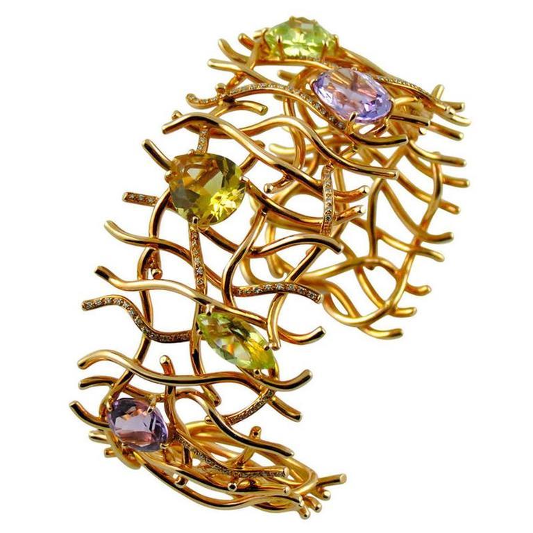Jona Citrine Amethyst Diamond Grid 18k Rose Gold One-of-a-Kind Cuff Bracelet