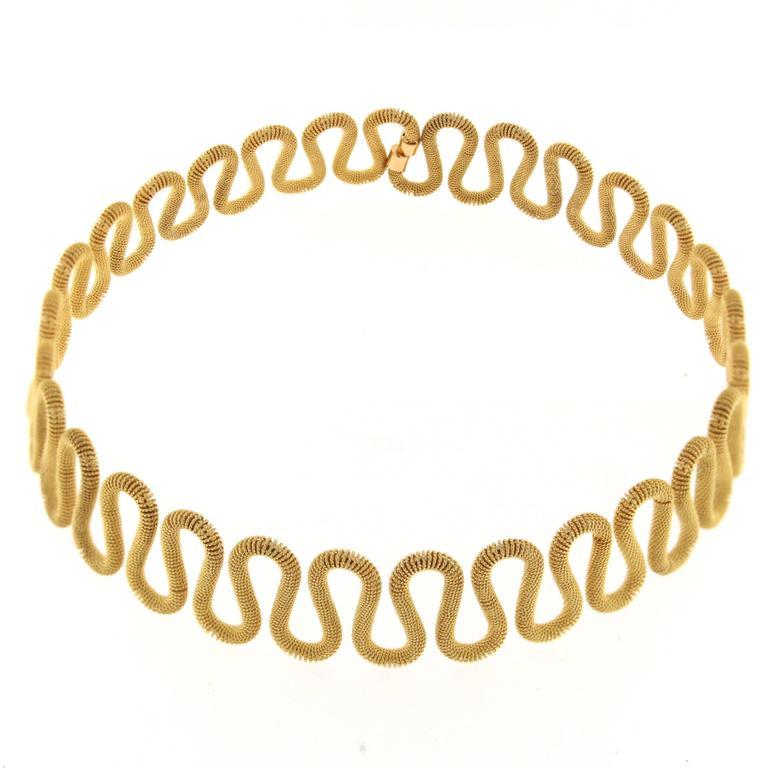 Jona 18k Yellow Gold Twisted Wire Flexible Choker Necklace