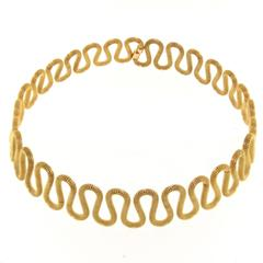 Jona 18k Yellow Gold Twisted Wire Flexible Choker Necklace