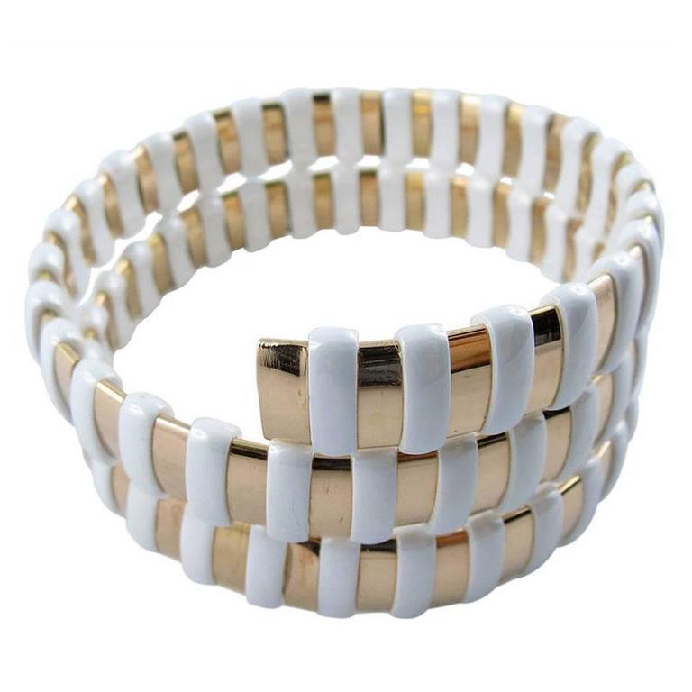 Jona Gold High-Tech White Ceramic Coil Bracelet
