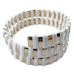 Jona Gold High-Tech White Ceramic Coil Bracelet