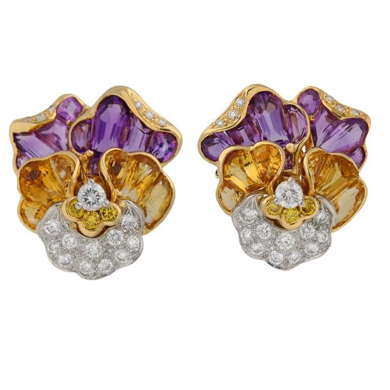 Oscar Heyman Brothers pansy earrings, circa 1960.