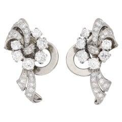 Garrards diamond clip earrings, circa 1950.