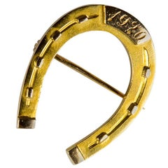 Art Deco Jackson Bros. Gold Horseshoe Brooch Pin Estate Fine Jewelry
