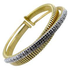 Diamond Gold Tubogas Bangle Bracelet