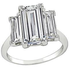 Stunning 2.49ct Emerald Cut Diamond Engagement Ring